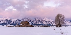 Mormon Row Barns are beautiful in the winter but it can be a deep-snow hike of about a mile in mid-winter.
